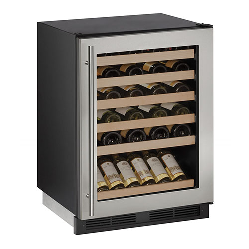U-LINE 24  Wine Captain 48 Bottle Stainless Steel Wine Cooler with Lock