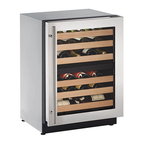 U-LINE 24  Wine Captain 43 Bottle Stainless Steel Wine Dual Zone Wine Cooler- Left Hinge