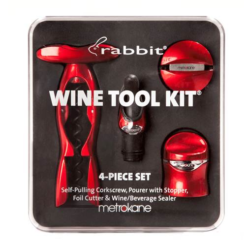 Metrokane Metallic Red Rabbit 4-Piece Wine Tool Kit