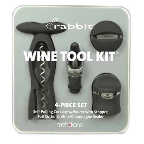 Metrokane Velvet Black Rabbit 4-Piece Wine Tool Kit