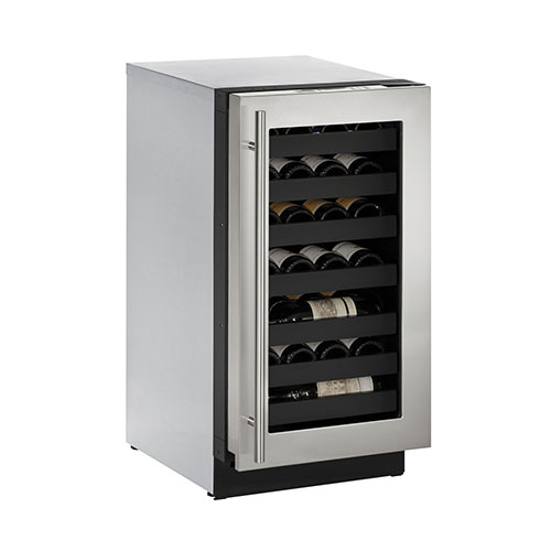 U-LINE 18  Wine Captain 31 Bottle Stainless Steel Wine Cooler with Lock- Right Hinge