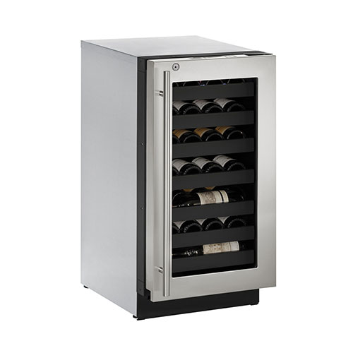 U-LINE 18  Wine Captain 31 Bottle Stainless Steel Wine Cooler with Lock- Left Hinge