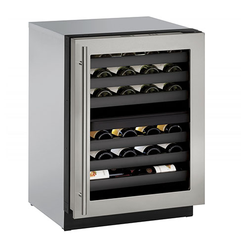 U-LINE 24  Wine Captain 43 Bottle Stainless Steel Dual Zone Wine Cooler with Lock- Left Hinge