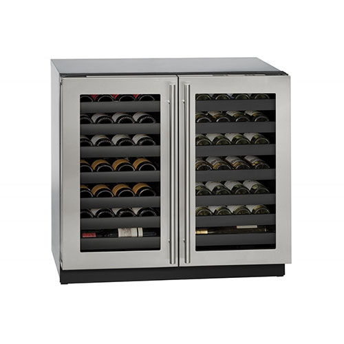 U-LINE 36  Wine Captain 62 Bottle Stainless Steel Double Door Wine Cooler
