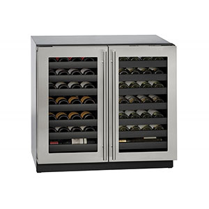 U-LINE 36  Wine Captain 62 Bottle Stainless Steel Double Door Wine Cooler with Lock