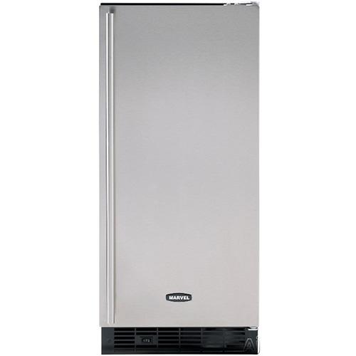 Marvel 15-Inch Indoor Ice Maker with Black Cabinet & Stainless Steel Door with Pump