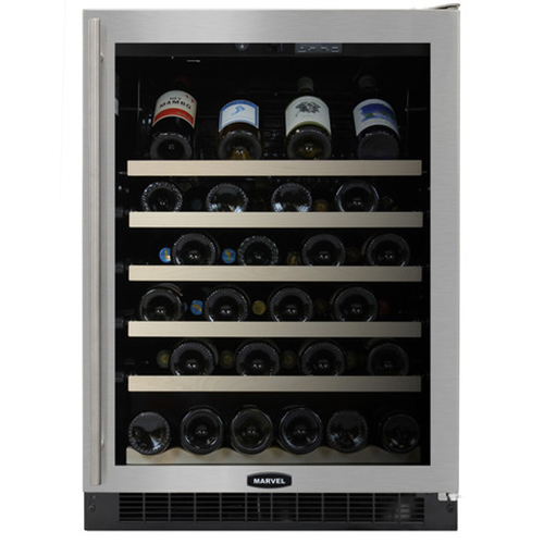Marvel 24-Inch Wine Cellar with Black Cabinet & Stainless Steel Trim Glass Door