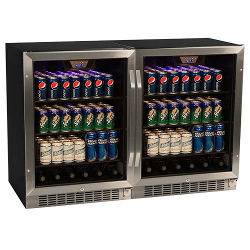 EdgeStar 296 Can Stainless Steel Side-by-Side Beverage Cooler