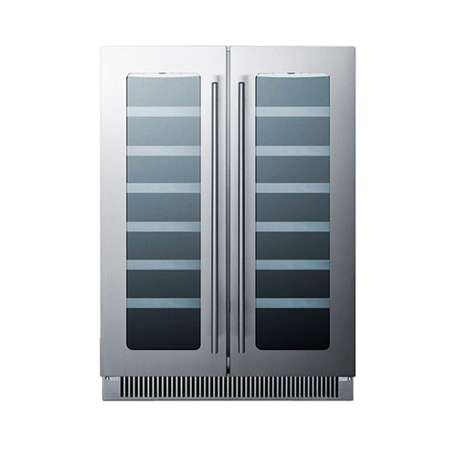 Summit 24'' French Door Seamless Stainless Steel Wine Cellar