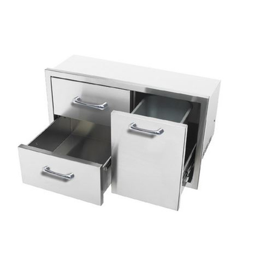 Caliber 35 Built-In Grill Double Access Drawer w/ Roll-Out Trash/ Propane Tank Storage Combo