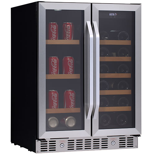 24 Inch Built In Wine And Beverage Cooler With French Doors