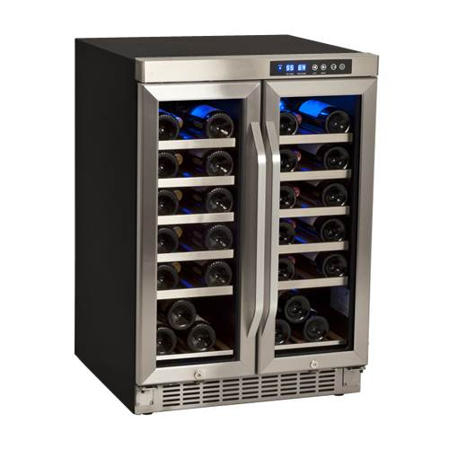 EdgeStar 36 Bottle Built-In Dual Zone French Door Wine Cooler