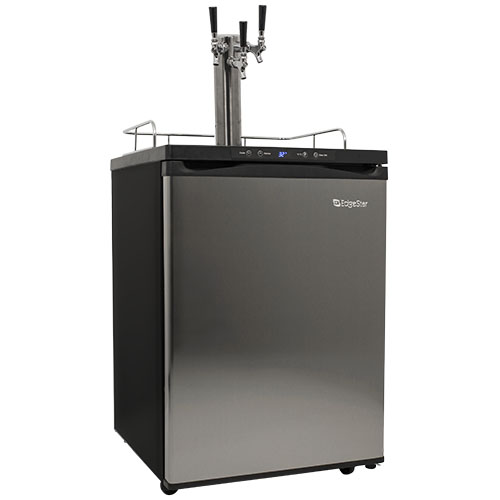 EdgeStar Stainless Steel Full Size Triple Tap Kegerator with Digital Display