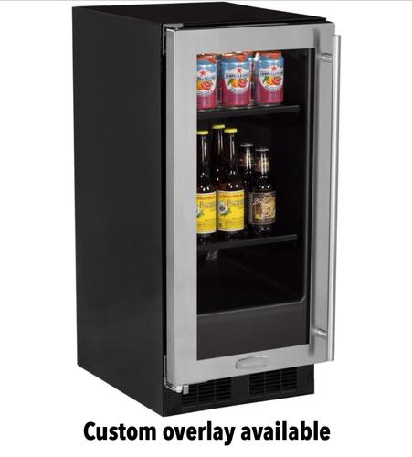 15  Beverage Center Overlay Ready Glass Door - Left Hinge