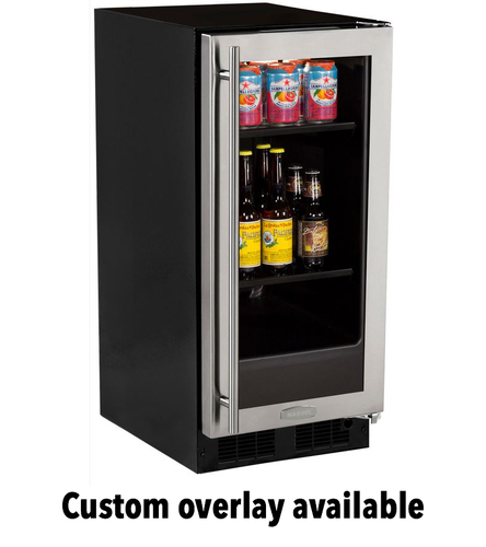 15  Beverage Center Overlay Ready Glass Door - Right Hinge