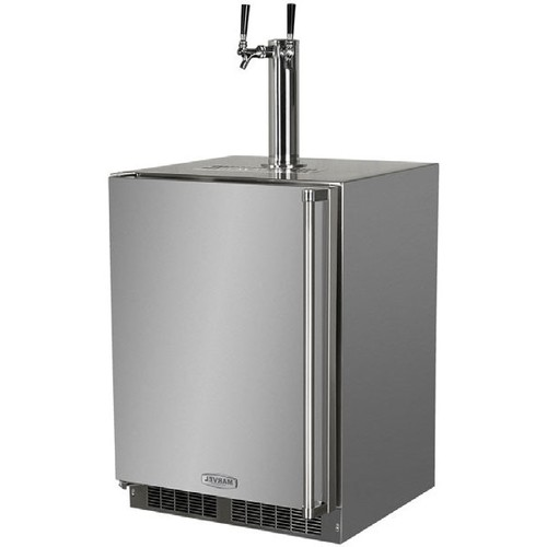Outdoor Twin Tap Built-In Kegerator Stainless Steel With Lock - Left Hinge