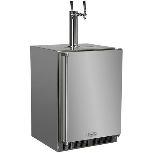 outdoor twin tap built in kegerator stainless steel with lock right