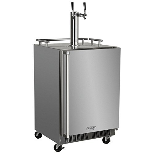 Outdoor Built-In Twin Tap Mobile Kegerator Stainless Steel With Lock - Right Hinge