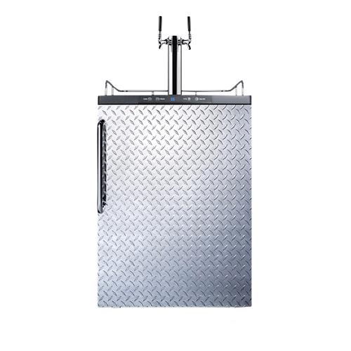 Commercial Built-In Dual Faucet Beer Kegerator - Diamond Plate Door