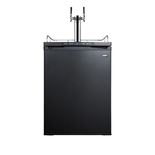 Commercial Built-In Dual Faucet Full Size Beer Kegerator - Black Door