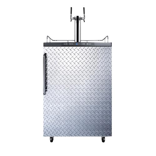 Commercial Dual Faucet Beer Kegerator - Diamond Plate Door