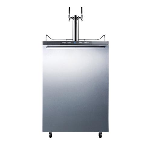 Commercial Dual Faucet Beer Kegerator Horizontal Handle - Stainless Door