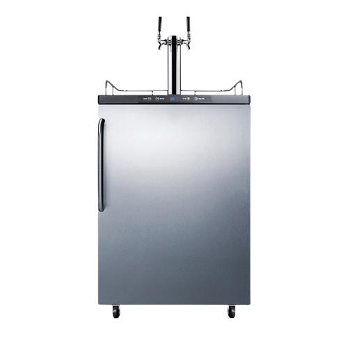 Commercial Dual Faucet Beer Kegerator Towel Bar Handle - Stainless Door