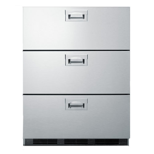 Summit Pro 3 Drawer 24 Inch Wide Stainless Steel Fridge