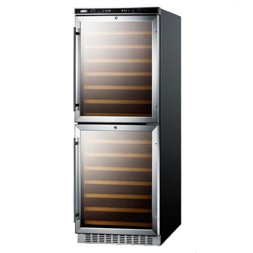 Summit Full Size Built-In 108 Bottle Dual Zone Wine Cellar