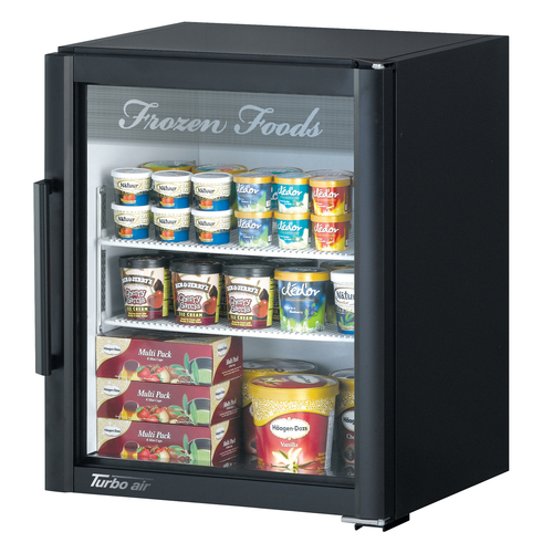 Turbo Air 5.9 Cu. Ft. Glass Door Merchandising Freezer- Super Deluxe Series - Black