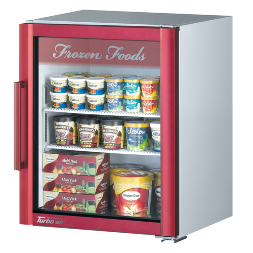Turbo Air 5.9 Cu. Ft. Glass Door Merchandising Freezer- Super Deluxe Series - Red