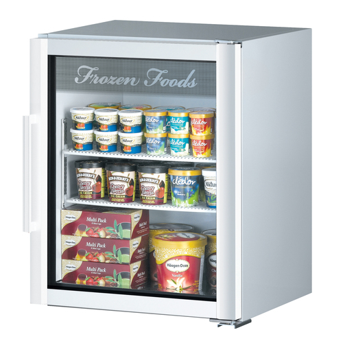 Turbo Air 5.9 Cu. Ft. Glass Door Merchandising Freezer- Super Deluxe Series - White