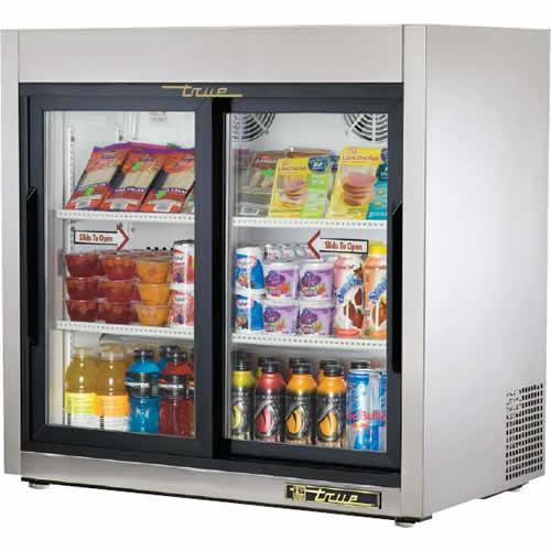 True T-Series 9 Cu. Ft. Slide Glass Door Reach-In Countertop Refrigerator