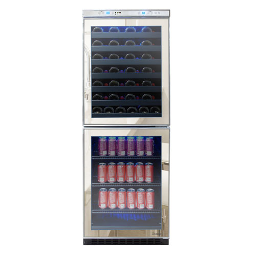 Vinotemp 24 Inch Built-In Mirrored Touch Screen Wine and Beverage Cooler