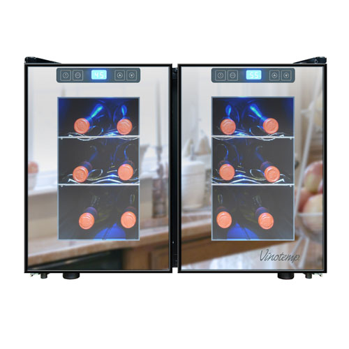Vinotemp 12 Bottle Dual Zone Touch Screen Thermoelectric Mirrored Wine Cooler