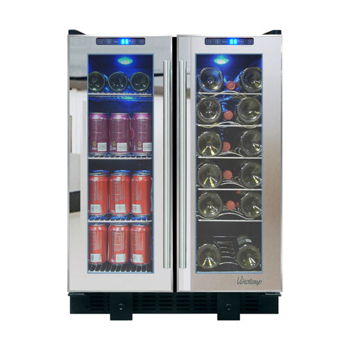 Vinotemp 24 Inch Built-In Mirrored Wine and Beverage Cooler