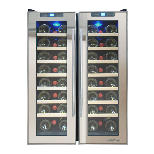 Vinotemp 48 Bottle Dual Zone Thermoelectric Mirrored Wine Cooler